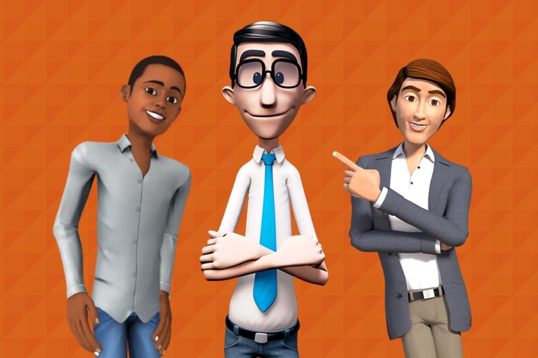 Arte com três intérpretes virtuais da Hand Talk e da ProDeaf reunidos. São três homens jovens. Hugo, intérprete da Hand Talk, está no centro da imagem entre os dois intérpretes da ProDeaf.