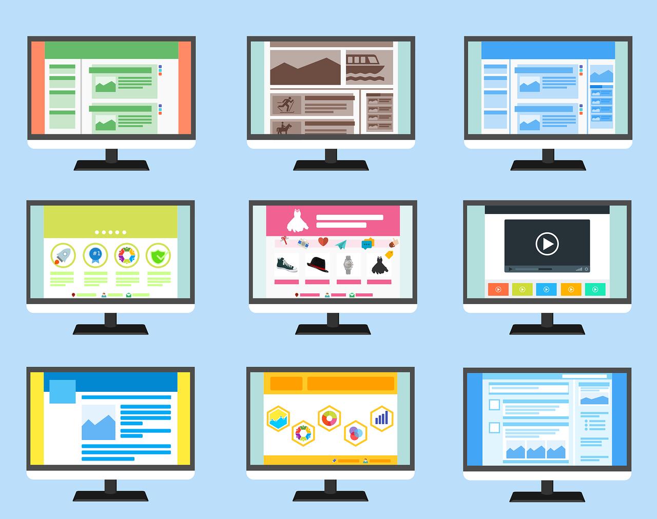 Ilustração com nove telas de computador mostrando páginas diferentes da web.