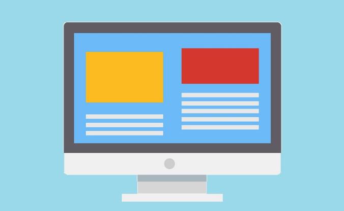 Ilustração da tela de um computador. Na tela, há dois blocos com diferentes quantidades de linhas e retângulos coloridos acima de cada um.