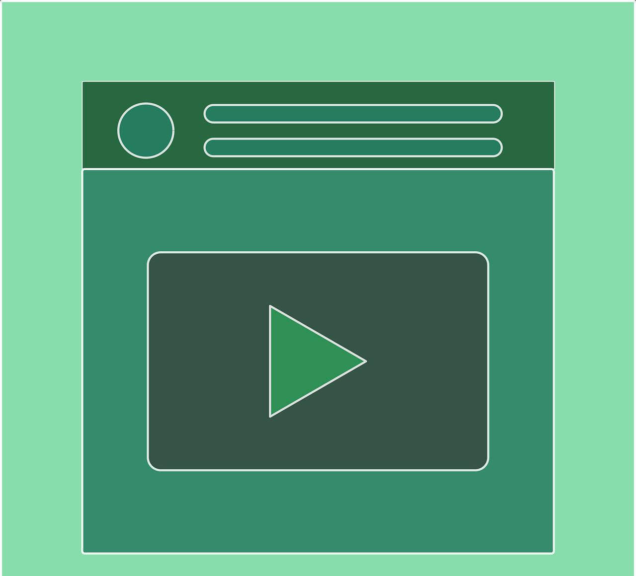 Arte mostrando a tela de um dispositivo móvel com o ícone de um player de vídeo.