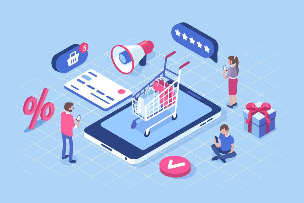 Ilustração com fundo azul com pessoas e ícones diversos. Há dois homens e uma mulher mexendo no celular. Ao centro da imagem, há um celular gigante com um carrinho de compras em cima. Ao lado, há um cartão de banco.