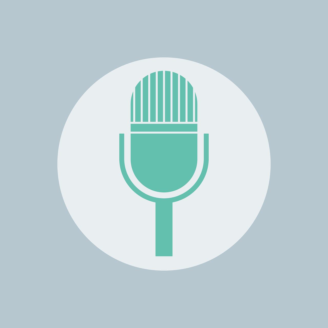 Arte com o ícone de um microfone verde no centro da imagem.