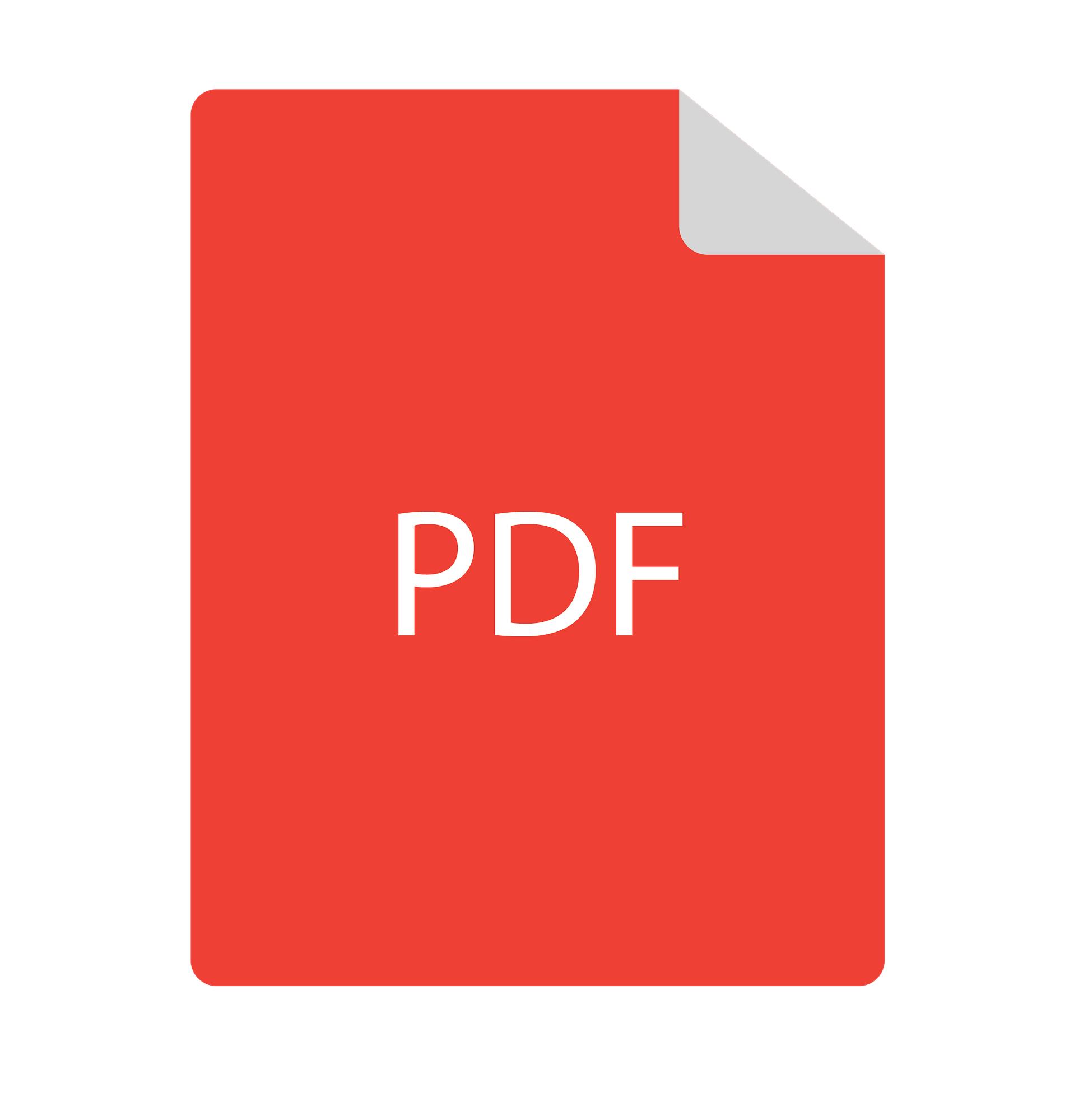 Arte com retângulo vermelho vertical com o texto PDF no centro da imagem.