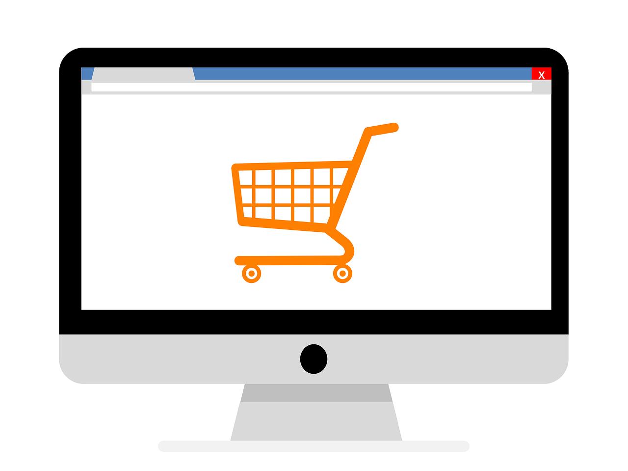 Ilustração de uma tela de computador com um carrinho de compras laranja em um fundo branco.