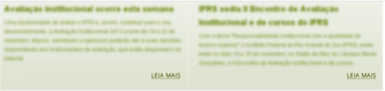 """Arte com dois blocos de notícias embaçados, mostrando somente o texto """"Leia Mais"""" no final de cada bloco."""