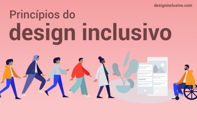 """Ilustração com pessoas andando na direção de um homem que está sentado em uma cadeira de rodas. Ao lado desse homem, há dois dispositivos móveis. Na parte superior, há o texto: """"Princípios do design inclusivo""""."""