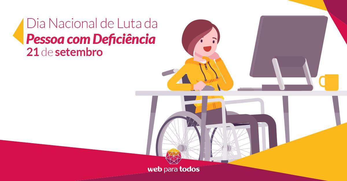 Arte com ilustração de uma pessoa sentada em uma cadeira de rodas em frente a um computador.