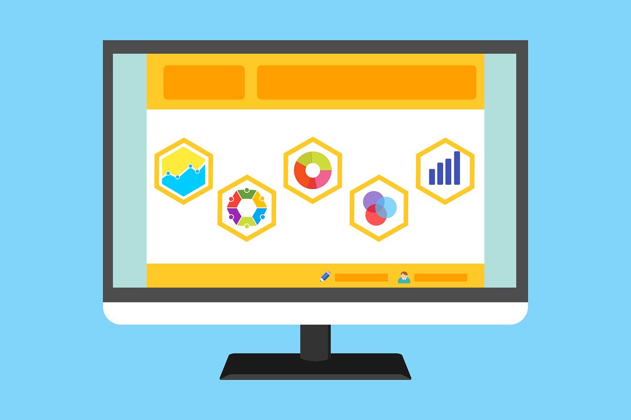 Ilustração de uma tela de computador que mostra cinco ícones diferentes dentro de pentágonos. Os ícones demonstram representações diferentes de gráficos.