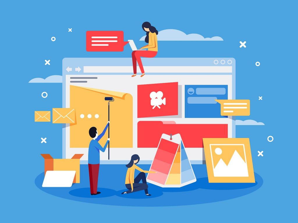 Ilustração com uma tela grande simulando um site com três pessoas ao redor e ícones de mensagem, caixa, gravação, foto e balão de conversa.