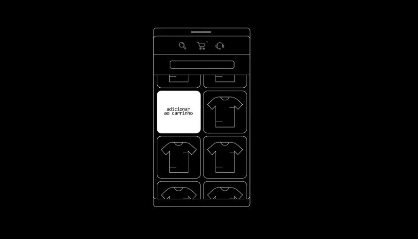 """Ilustração da tela de um smartphone em fundo preto. No topo, há três ícones: lupa, carrinho com número um e fone de ouvido com microfone. Abaixo, há quatro quadrados, sendo três deles com ícones de camisetas e um deles com a frase """"Adicionar ao carrinho""""."""