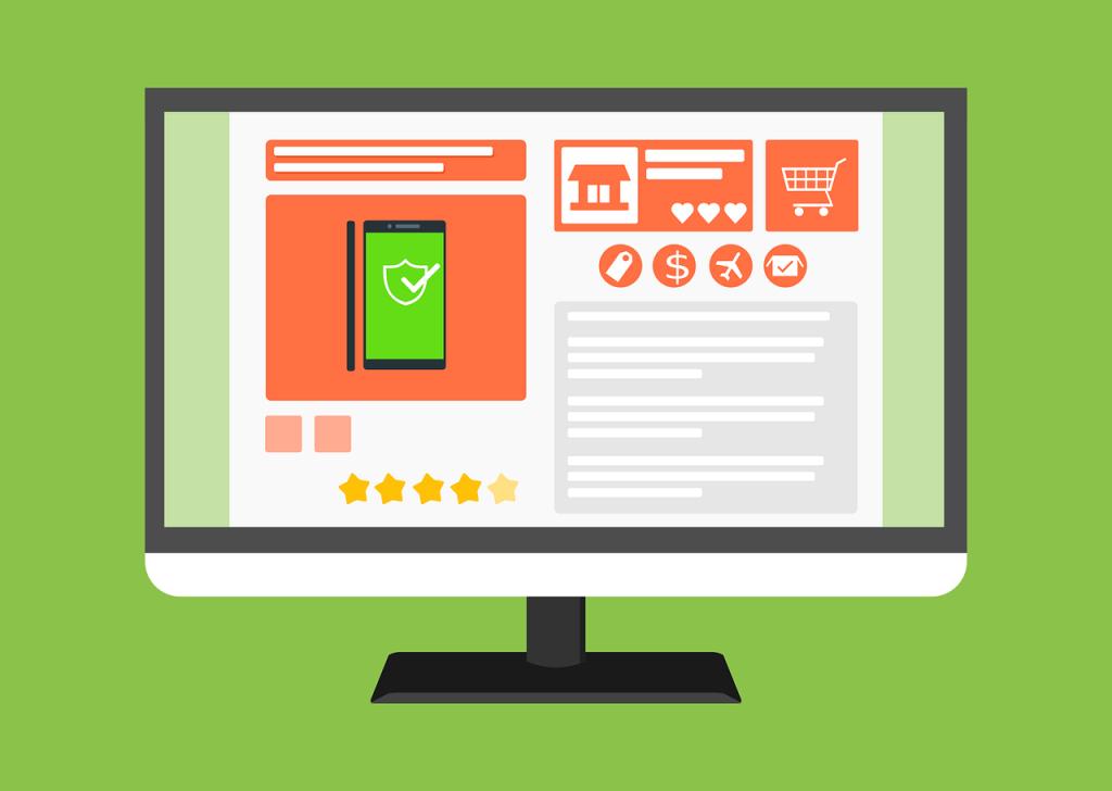 Ilustração de uma tela de computador que mostra a simulação de uma loja online. Há diversos ícones: avião, casa,coração, carrinho de compras, estrelas, entre outros. Em destaque, há um smartphone com o ícone de um escudo com uma verificação verde.