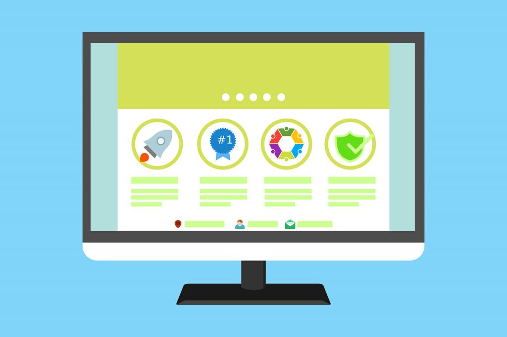 Ilustração da tela de um computador que mostra uma simulação do layout de um site. Há quatro ícones diferentes, que são: foguete, medalha, hexágono colorido e um escudo verde com marca de verificação verde.
