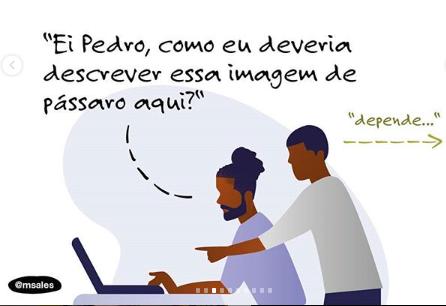"""Ilustração com duas pessoas. Uma delas está sentada na frente de um computador e outra está atrás dela. Uma delas pergunta: a pessoa que está sentada pergunta: """"Ei Pedro, como eu deveria descrever essa imagem de pássaro aqui?"""" A pessoa que está em pé responde: """"Depende...""""."""