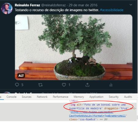 """Reprodução da tela do usuário do Twitter com foto do  Reinaldo Ferraz em um círculo. Ao lado, há o nome """"Reinaldo Ferraz @reinaldoferraz - 29 de março de 2016"""". Abaixo, há a frase: """"Testando o recurso de descrição de imagem no twitter. #acessibilidade"""".  Em seguida, há a foto de um bonsai em cima de uma mesa de madeira. No canto inferior da foto, há a sigla """"ALT"""" e, abaixo, os ícones de balão de conversa, retuíte, coração e upload. Logo abaixo, há diversos códigos e palavras em inglês. Em destaque com um círculo oval, há códigos e a frase:""""Foto de um bonsai sobre uma superfície de madeira""""."""