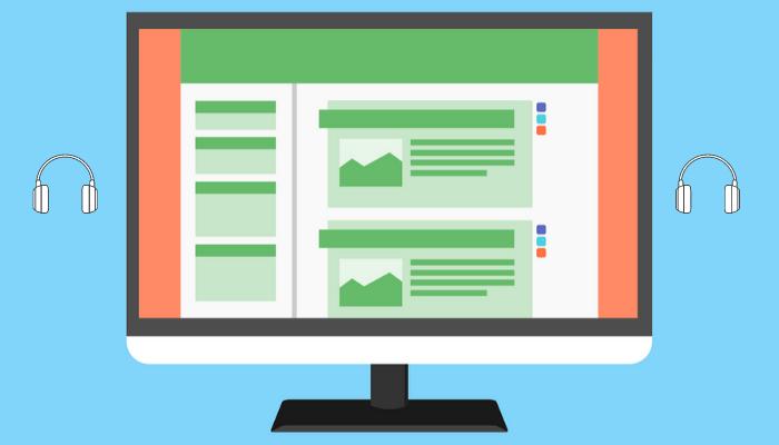 Ilustração colorida da tela de computador que mostra a simulação de um site com duas colunas, textos e fotos. Há dois ícones de fones de ouvido: um está no lado esquerdo e outro no lado direito.
