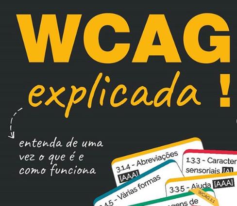 """Arte com diversos cartões com nomes, como: 3.1.4 - Abreviações AAA; 1.3.3 - Características sensoriais A, entre outros. Na parte superior, há um texto em amarelo: """"WCAG Explicada! Entenda de uma vez o que é e como funciona""""."""