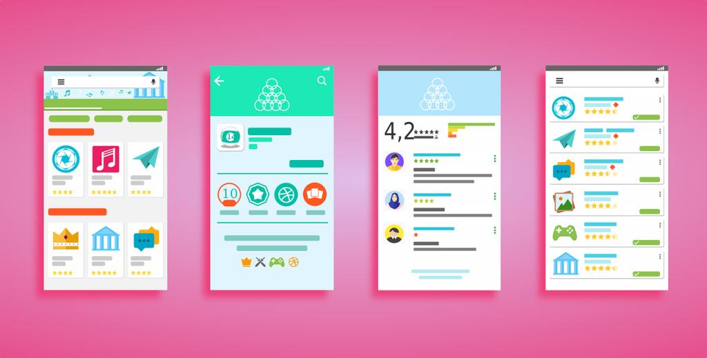 Ilustração colorida de quatro telas que exibem interfaces para baixar aplicativos.