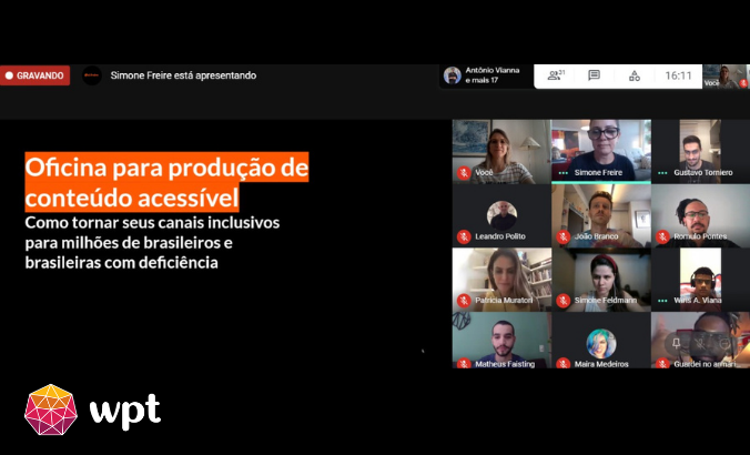 """Captura de tela da oficina com diversas minijanelas lado a lado que exibem rostos sorridentes. Há o texto: """"Oficina para produção de conteúdo acessível"""". Na parte inferior há esquerda, há o logotipo do Movimento Web para Todos."""