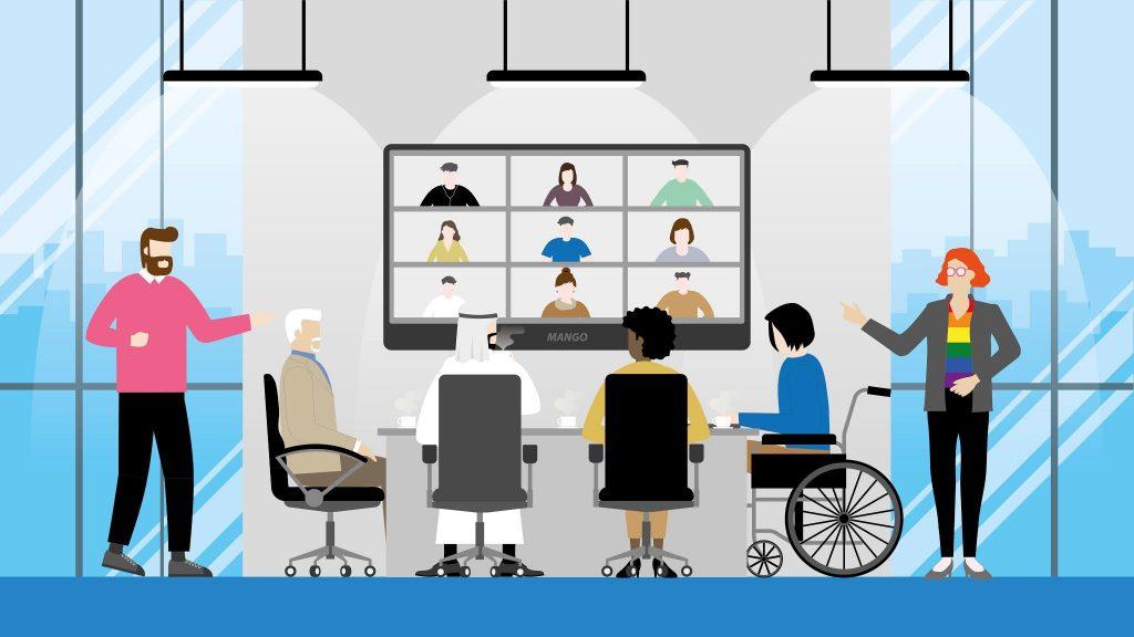 Ilustração de mesa diversa com pessoas de diferentes culturas, etnias, gêneros e deficiências. Na parede à frente delas há um monitor com a tela dividida em nove partes como em videoconferência. Em cada parte há uma imagem de pessoa.