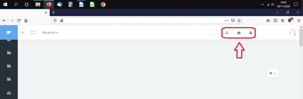 Print de tela do ambiente virtual do Moodle. Ao lado esquerdo, há um menu vertical com ícones. Na parte superior direita, estão destacados pelo autor do artigo os ícones da mensageria, que são a lupa (busca), carta (email) e sino (alertas).