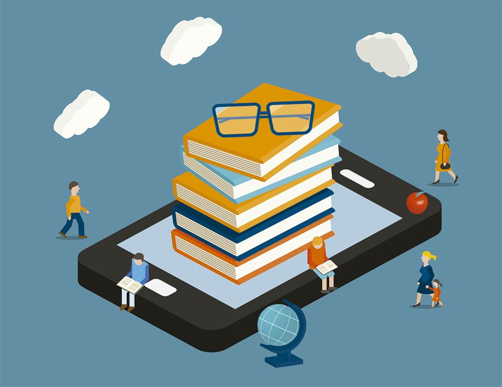Arte com ilustração de um tablet deitado, sobre ele estão diversos livros empilhados e um óculos de grau no topo. Ao redor, há pessoas pequenas. Algumas delas caminham e outras leem