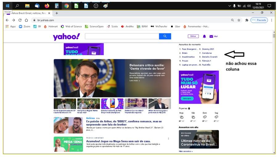 """Print de tela da homepage do Yahoo com o desenho de uma seta ao lado superior direito com o texto """"não achou essa coluna""""."""