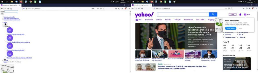 Print de duas telas de computador lado a lado. O da esquerda mostra uma página sem estilo com o conteúdo em formato de lista. O print da direita mostra uma página com formatação normal do Yahoo!