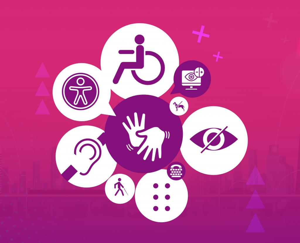 Arte em tons de rosa escuro, branco, amarelo, azul e roxo. No topo, há vários ícones que remetem à acessibilidade (surdez, Braille, língua de sinais, cadeirante, bengala, entre outros).