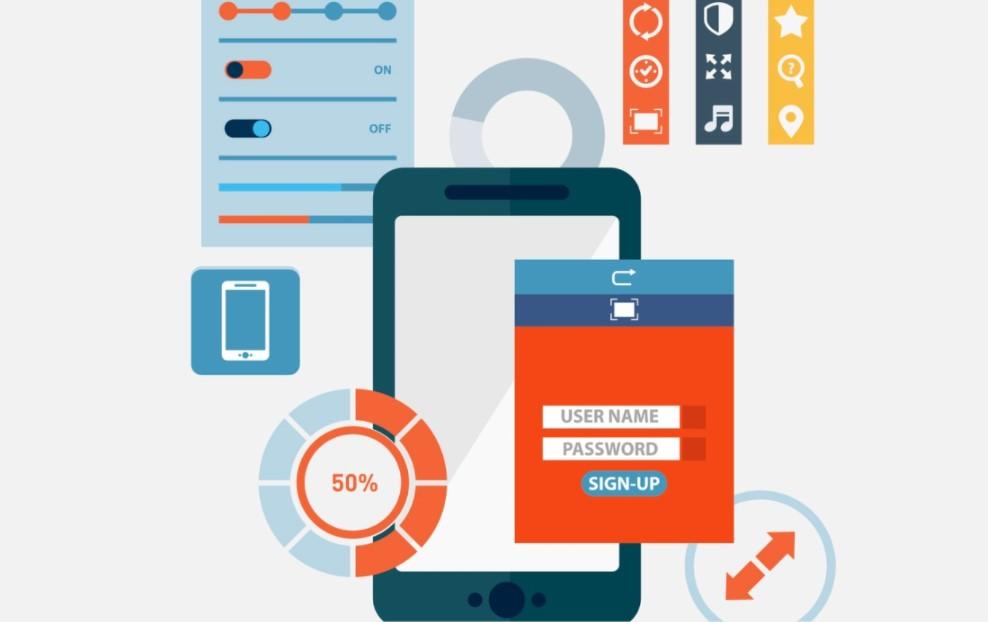 """Arte com diversos ícones coloridos usados em aplicativos, uma tela de celular em destaque no centro e, abaixo, uma página de formulário com campos e os textos """"user name"""", """"password"""" e """"sign-up"""". Há também ícones que remetem a preenchimento de fases de testes."""