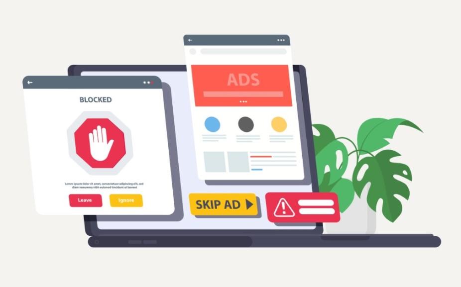 Ilustração de um notebook aberto, com duas telas projetadas para fora do equipamento que exibem ícones de bloqueio de acesso, pular anúncio e alerta.
