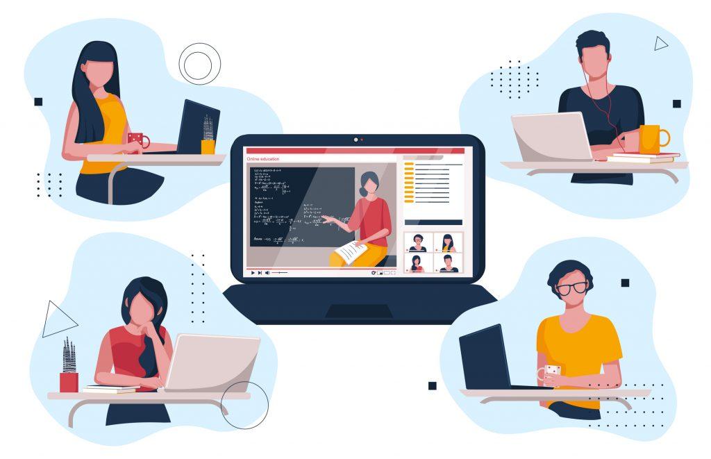 Ilustração contendo quatro desenhos de quatro pessoas sentadas em mesas de estudo, equipadas com notebooks. Ao centro, a imagem de um notebook aberto com a tela de uma professora apresentando uma aula online conecta os desenhos.