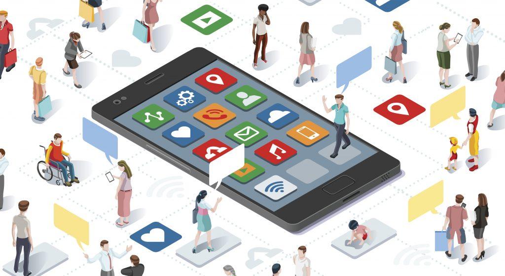 Ilustração de um celular ao centro com diversos ícones de serviços em sua tela (wi-fi, música, saúde, e-mail, etc). Ao redor do celular, dezenas de pessoas diversas (em gênero, etnia, deficiência e idade) interagem entre si, com vários balões de falas sobre suas cabeças.