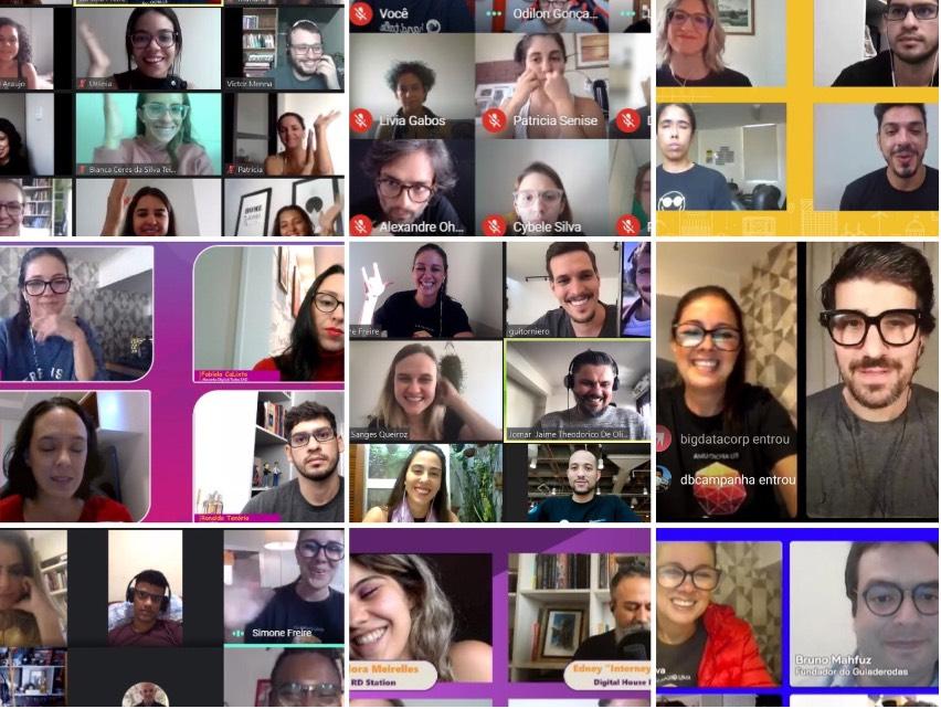 Mosaico com prints de tela de nove eventos diferentes que participamos ou conduzimos. Há cerca de 40 pessoas diversas em janelas distintas de chamadas em vídeo. A maioria sorri.