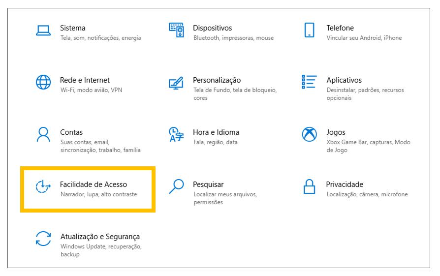 Print da tela Configurações do Windows com destaque para o menu 'Facilidade de Acesso'