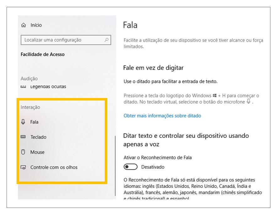 """Print da tela de Configurações do Windows com destaque em """"Facilidade de Acesso"""" e no menu """"interação""""."""