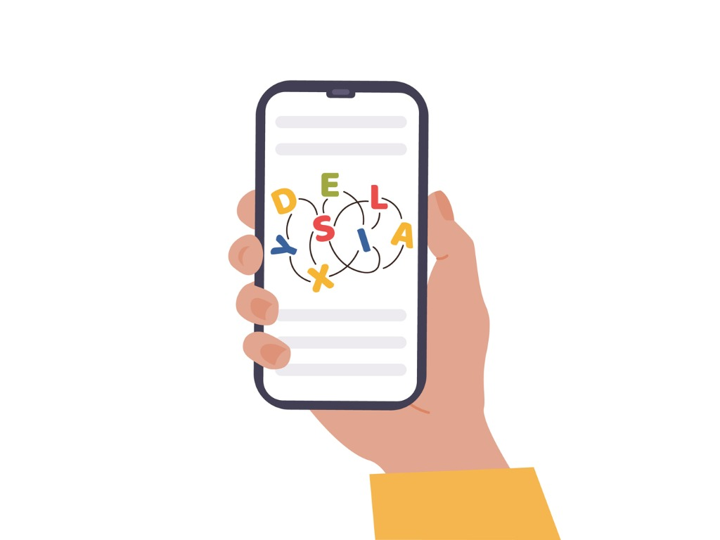 """Ilustração de mão segurando um celular com a tela virada para frente. Nela, as letras da palavra """"dyslexia"""" estão embaralhadas e conectadas por fios."""